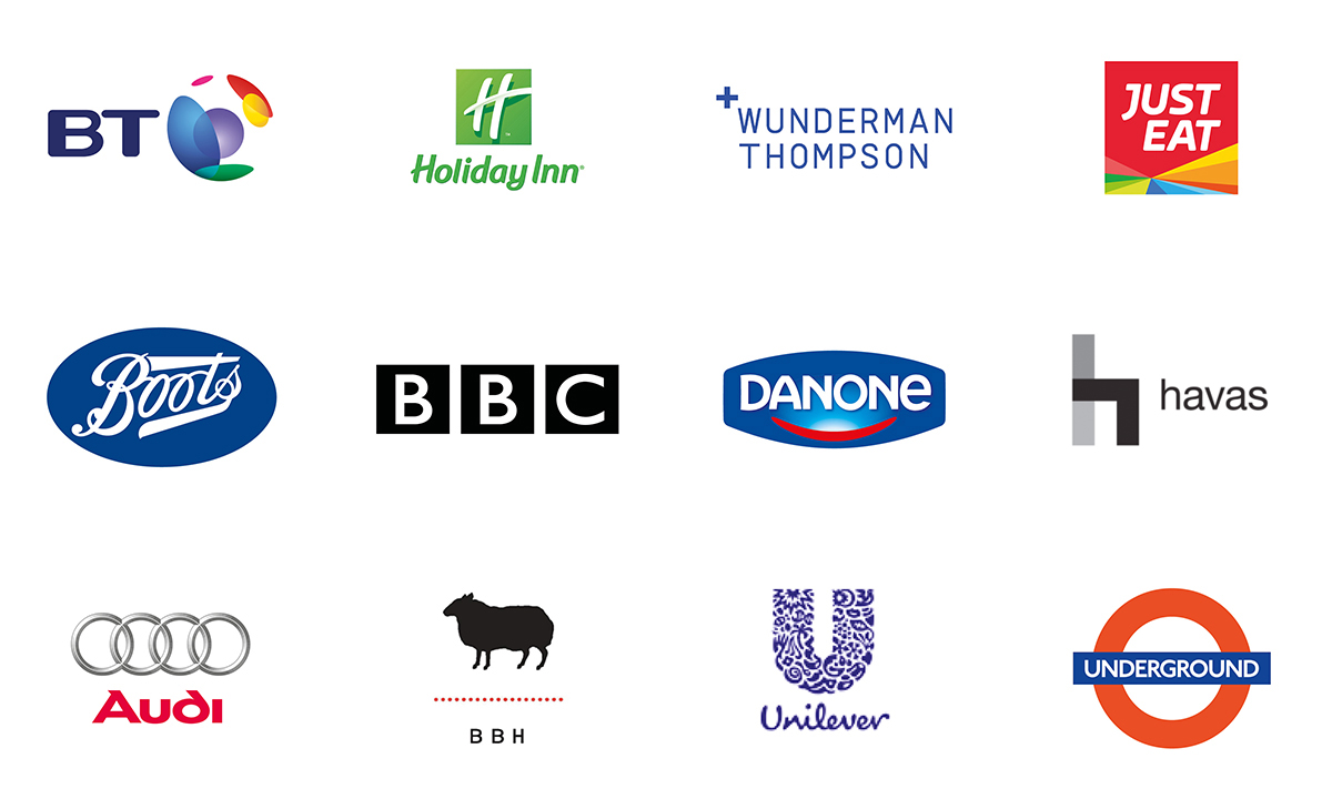 diageo, unilever, euro rscg, the national lottery, colgate-palmolive, kelloggs, direct line, ogilvy, audi, coca-cola, boots & bbc, to name a few